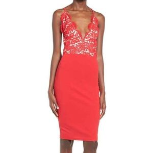 MISSGUIDED Women's Red Lace Midi Dress Size 16